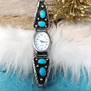 Navajo 925 Turquoise Watch Tips Stretch Band Works